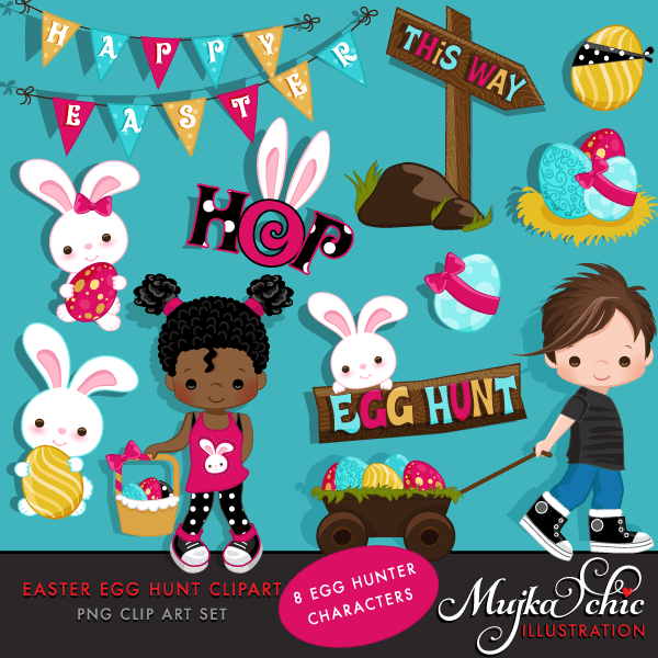 Easter Egg Hunt Clipart with Cute Characters and Easter Bunny Instant Download Easter Graphics  Mujka Chic    Mygrafico