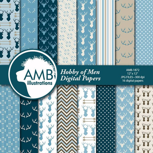 Cabin Chic Antler paper, Deer Digital Papers, masculine paper, Guy hunting pattern, Antler in blue papers,, AMB-1872 Digital Paper & Backgrounds AMBillustrations    Mygrafico