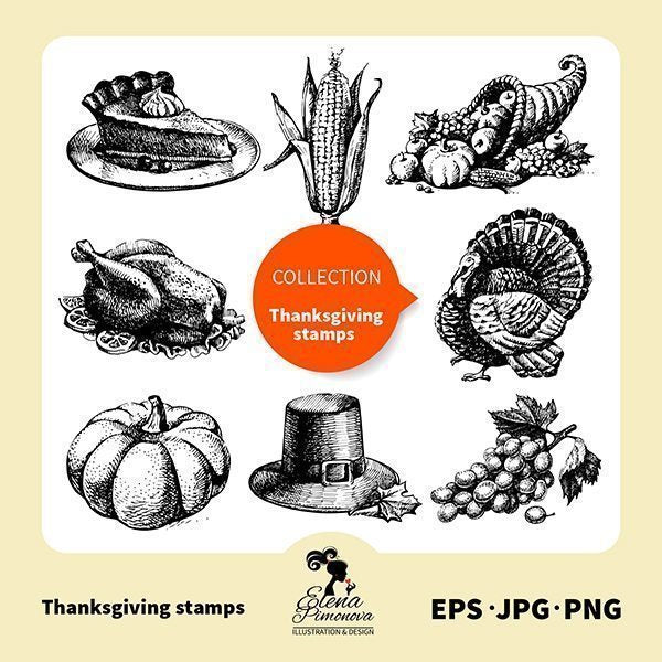 Thanksgiving hand drawn stamps  Elena Pimonova    Mygrafico