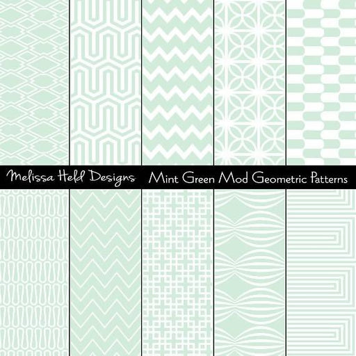 Mint Green Mod Geometric Patterns Digital Paper & Backgrounds Melissa Held Designs    Mygrafico