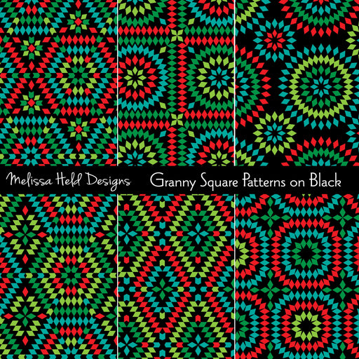 Granny Square Patterns on Black Digital Paper & Backgrounds Melissa Held Designs    Mygrafico