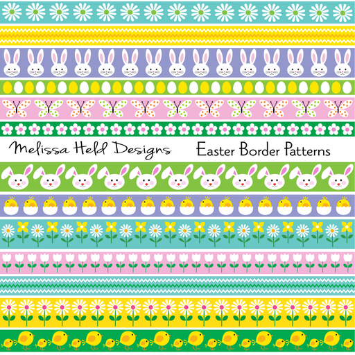 Easter Border Patterns Digital Paper & Backgrounds Melissa Held Designs    Mygrafico
