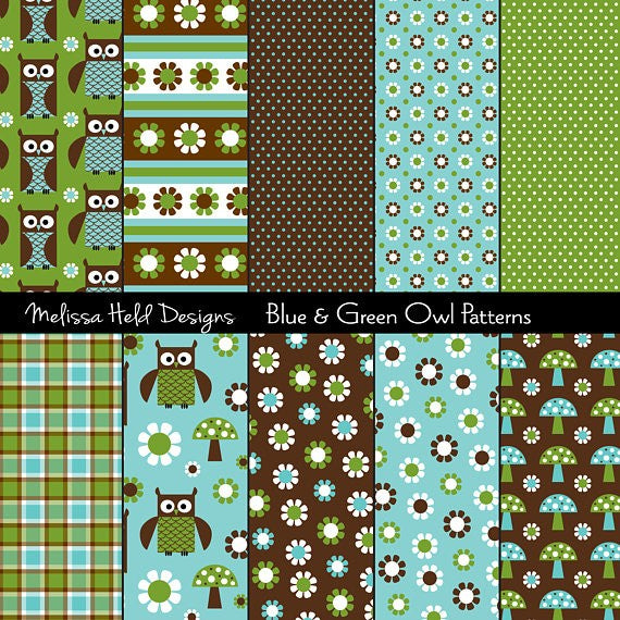 Blue and Green Owl Patterns Digital Paper & Backgrounds Melissa Held Designs    Mygrafico