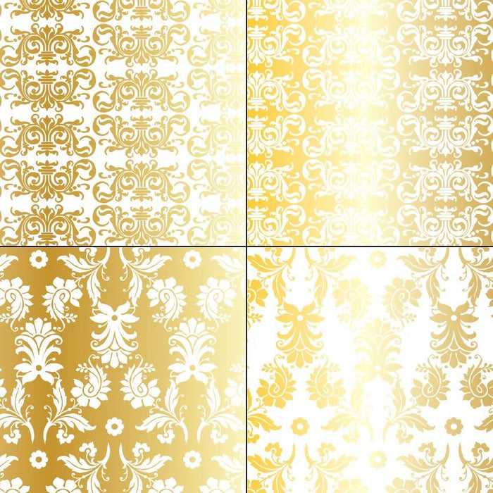 Gold & White Metallic Damask Patterns Digital Paper & Backgrounds Melissa Held Designs    Mygrafico