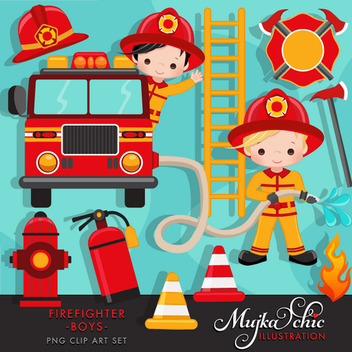 Fire fighter boys clipart