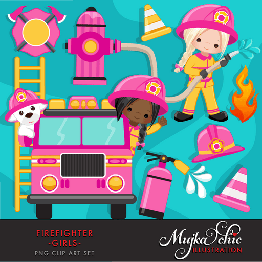Fire fighter girls clipart