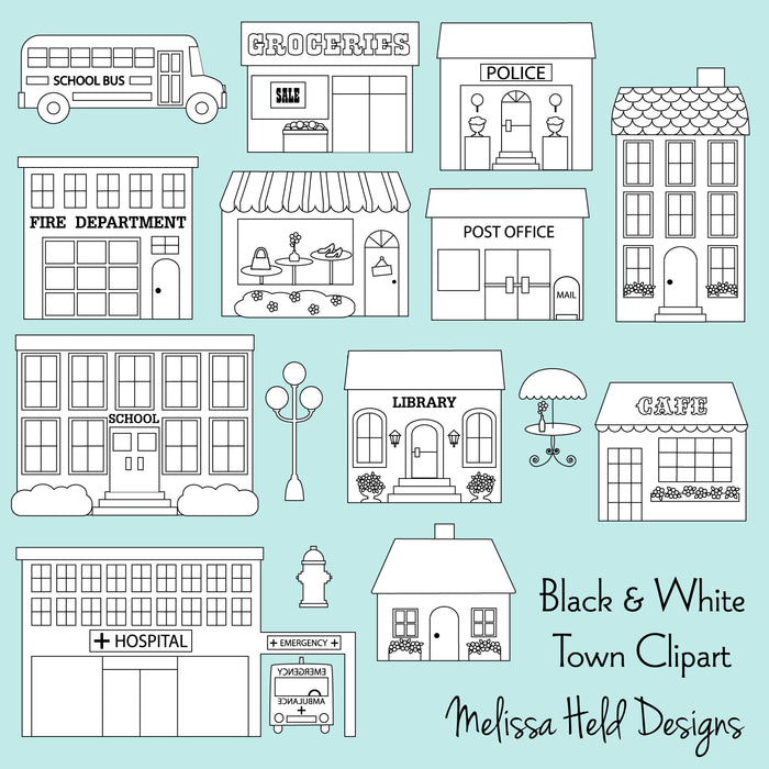 Town Buildings Black Outline Clipart