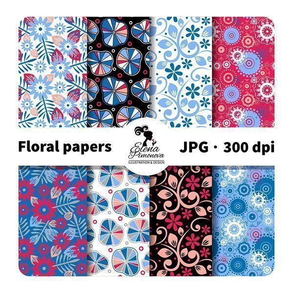 Abstract floral papers  Elena Pimonova    Mygrafico
