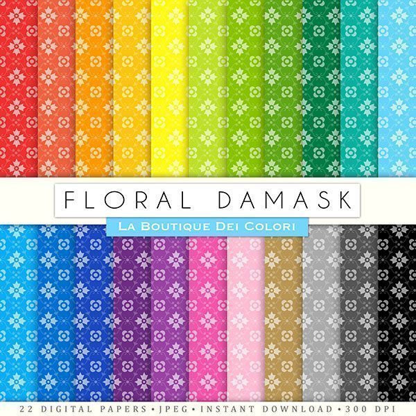 Floral Damask Bold Digital Papers  La Boutique Dei Colori    Mygrafico