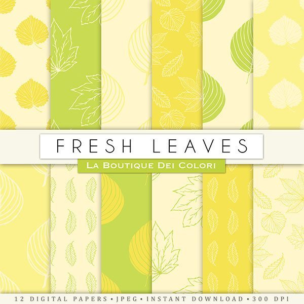 Fresh Leaves Digital Papers  La Boutique Dei Colori    Mygrafico