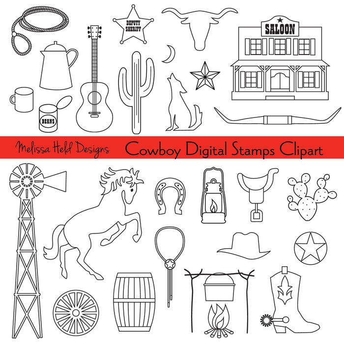 Cowboy Digital Stamps Clipart
