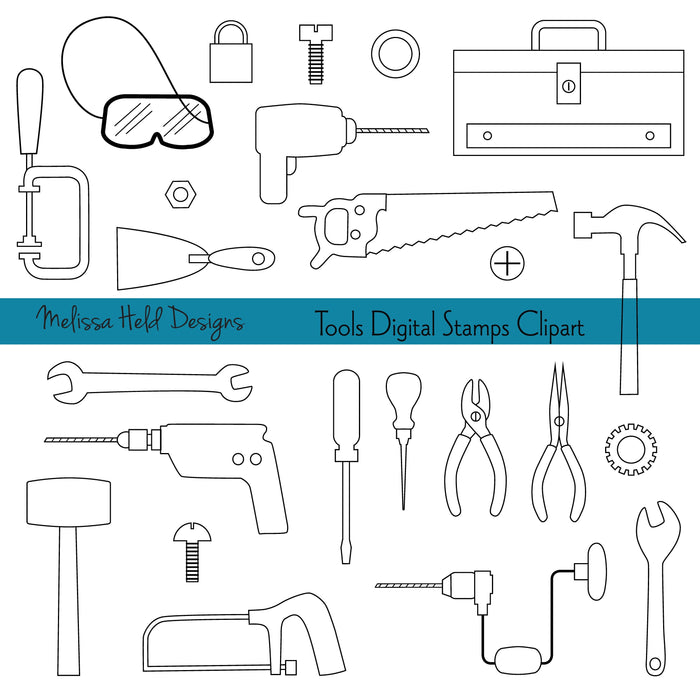Black Outline Tools Digital Stamps Clipart Digital Stamps Melissa Held Designs    Mygrafico