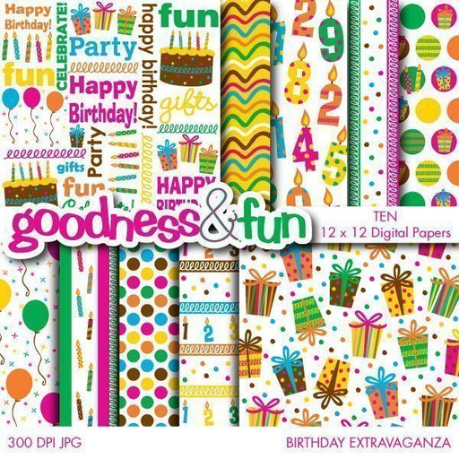 Birthday Extravaganza Papers  Goodness & Fun    Mygrafico
