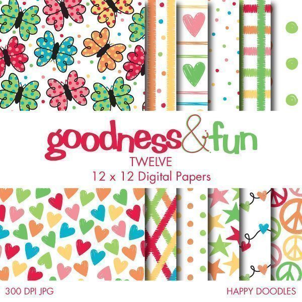 Happy Doodles Papers  Goodness & Fun    Mygrafico