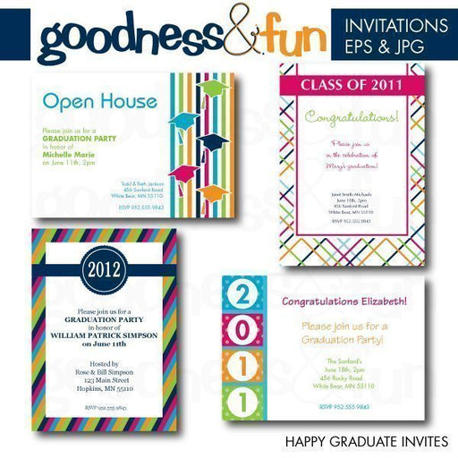 Happy Graduate Invites  Goodness & Fun    Mygrafico