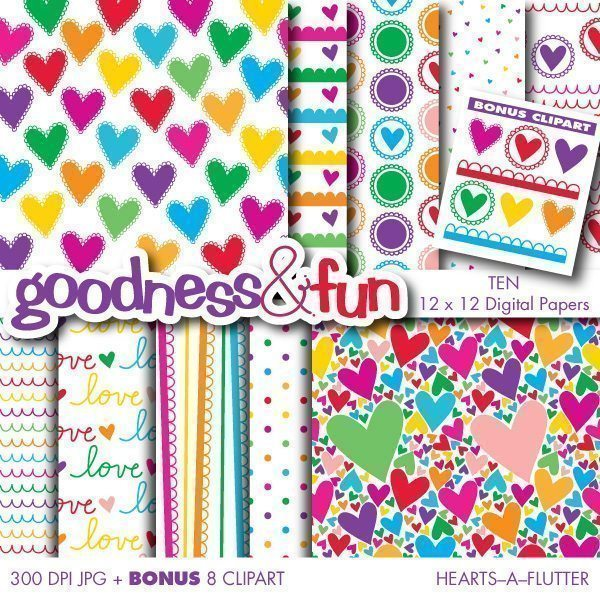 Hearts – A – Flutter Papers  Goodness & Fun    Mygrafico