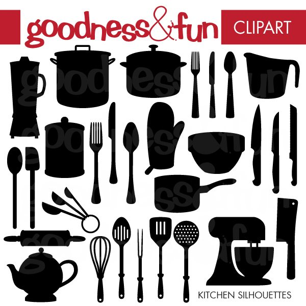 Kitchen Silhouettes Clipart Goodness & Fun    Mygrafico