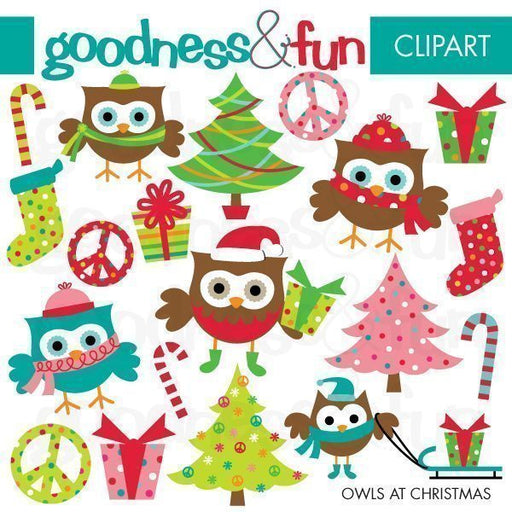Owls at Christmas Clipart  Goodness & Fun    Mygrafico