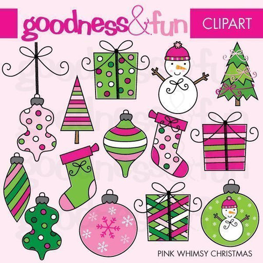 Pink Whimsy Christmas Clipart  Goodness & Fun    Mygrafico