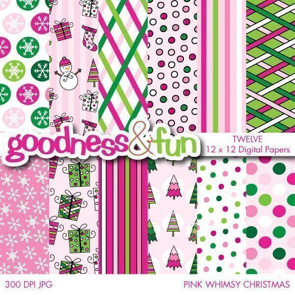 Pink Whimsy Christmas Digital Papers  Goodness & Fun    Mygrafico