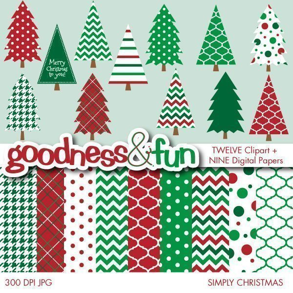 Simply Christmas Clipart & Digital Papers  Goodness & Fun    Mygrafico