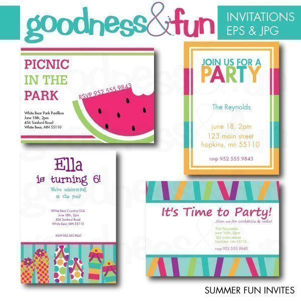 Summer Fun Invites  Goodness & Fun    Mygrafico