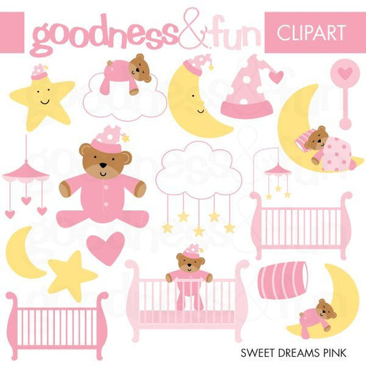 Pink Baby Nursery Sweet Dreams Clip art  Goodness & Fun    Mygrafico