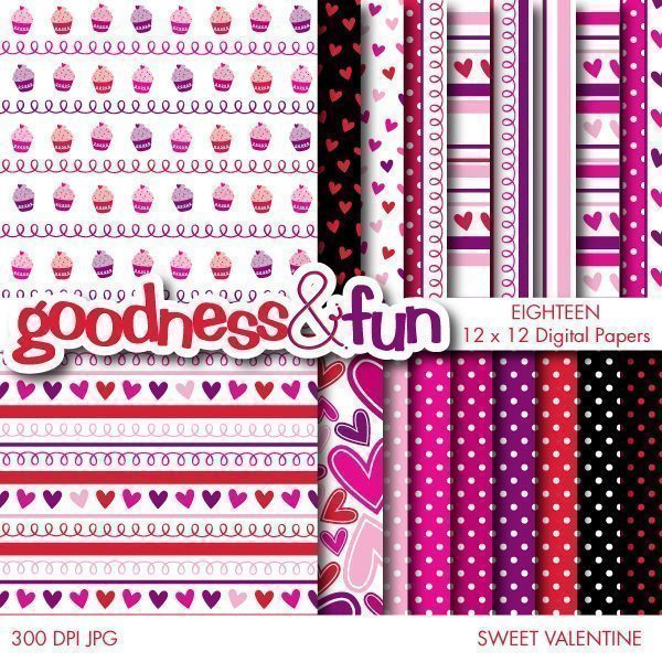 Sweet Valentine Papers  Goodness & Fun    Mygrafico