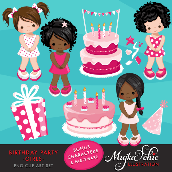 Birthday Party Cliparts for Girls  Mujka Chic    Mygrafico