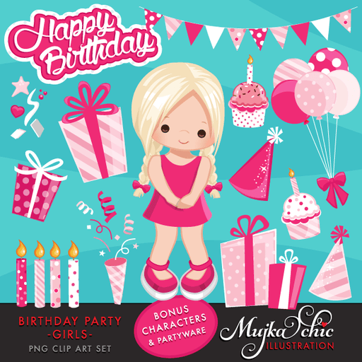 Birthday Party Cliparts For Girls