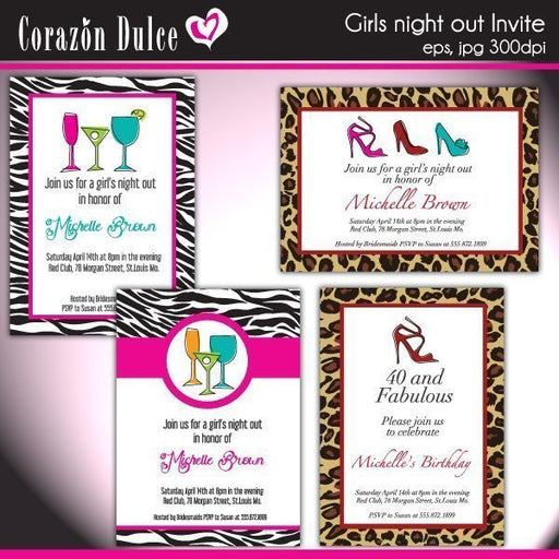 Girls Night out Invites  Corazón Dulce    Mygrafico