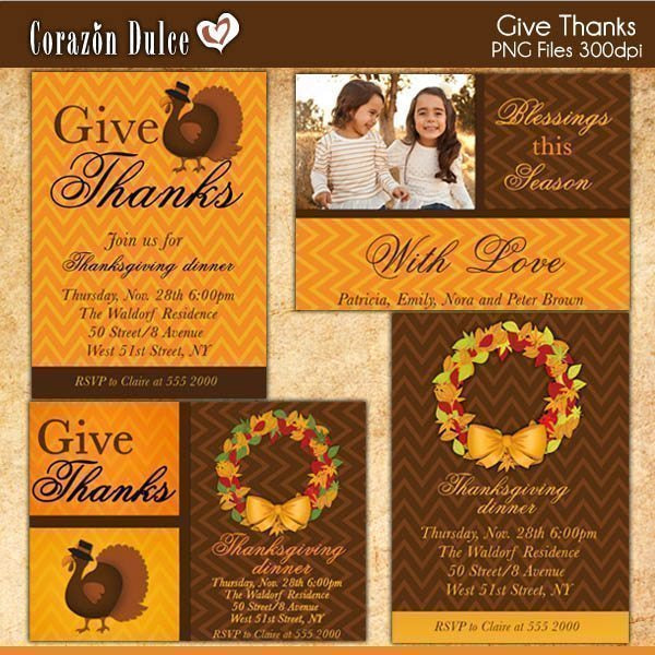Give thanks Invitation Templates  Corazón Dulce    Mygrafico