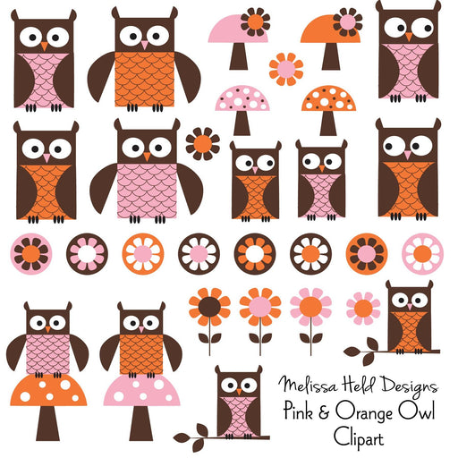 Pink Orange Owl Clipart Cliparts Melissa Held Designs    Mygrafico