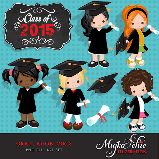 Little Girls Graduation Clipart  Mujka Chic    Mygrafico