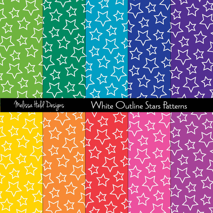 White Outline Stars Patterns Digital Paper & Backgrounds Melissa Held Designs    Mygrafico