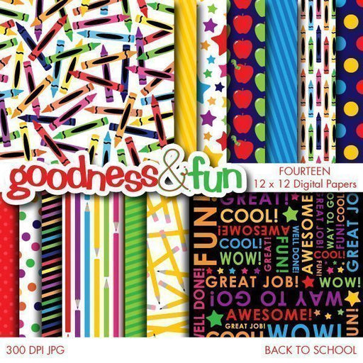 Back To School Digital Papers  Goodness & Fun    Mygrafico
