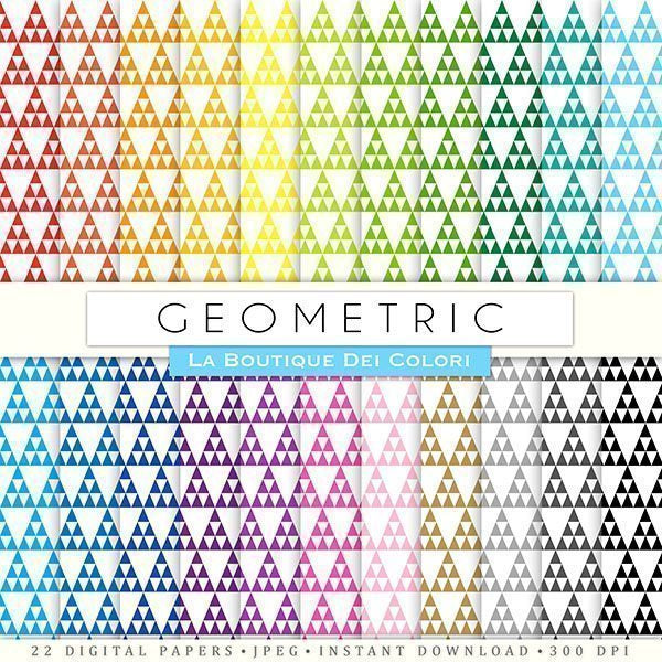 Rainbow Geometric Digital Papers  La Boutique Dei Colori    Mygrafico