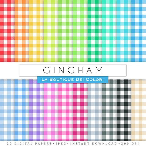 Gingham Digital Papers  La Boutique Dei Colori    Mygrafico
