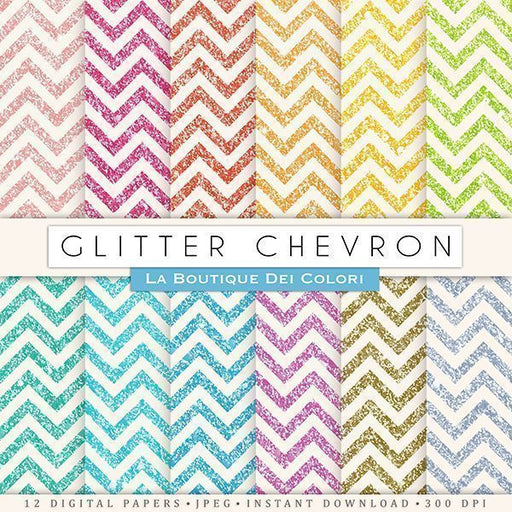 Glitter Chevron Digital Papers  La Boutique Dei Colori    Mygrafico