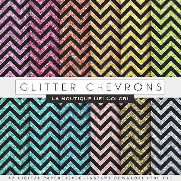 Black Glitter Chevron Digital Papers  La Boutique Dei Colori    Mygrafico