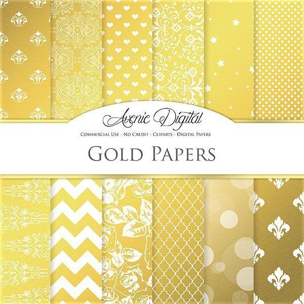 Gold Digital Paper  Avenie Digital    Mygrafico