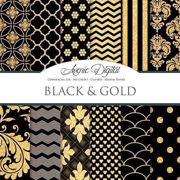 Gold and Black Digital Papers  Avenie Digital    Mygrafico