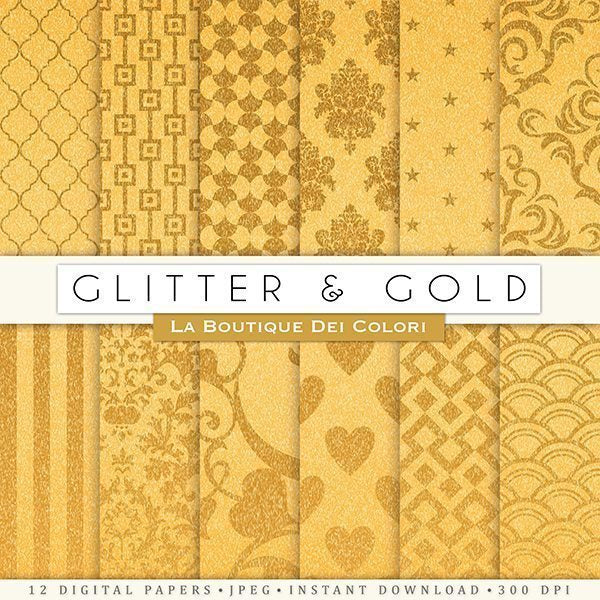 Glitter and Gold Digital Papers  La Boutique Dei Colori    Mygrafico