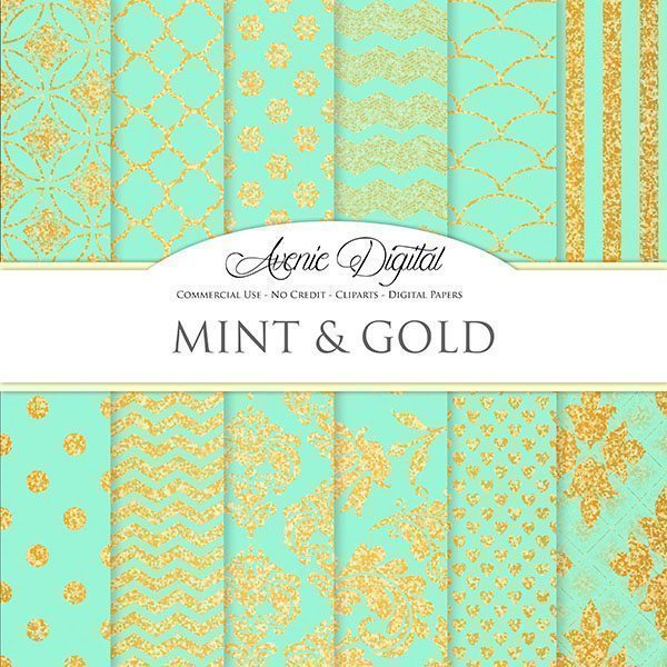 Gold and Mint Digital Paper  Avenie Digital    Mygrafico