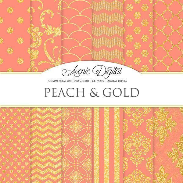 Gold and Peach Digital Paper.  Avenie Digital    Mygrafico