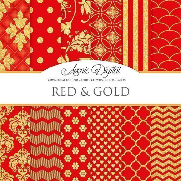 Gold and Red Digital Paper  Avenie Digital    Mygrafico