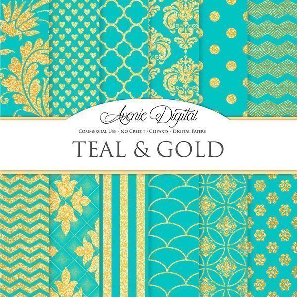 Gold and Teal Digital Paper  Avenie Digital    Mygrafico