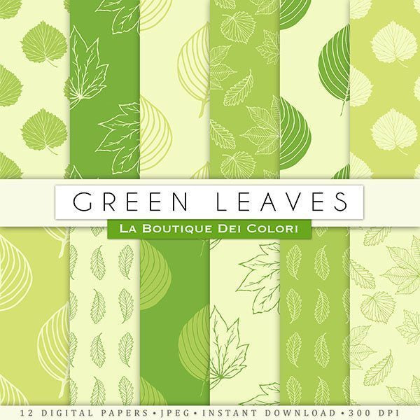 Green leaves Digital Papers  La Boutique Dei Colori    Mygrafico