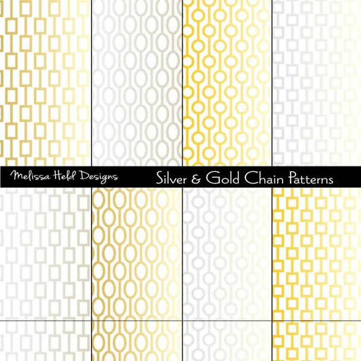 Silver and Gold Chain Patterns Digital Paper & Backgrounds Melissa Held Designs    Mygrafico