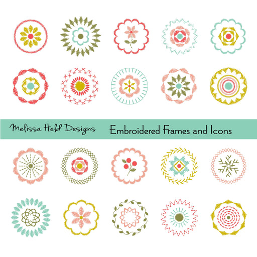 Embroidered Frames and Icons Clipart